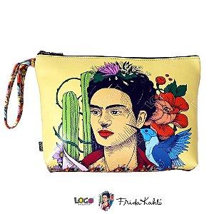 Necessaire Estampa Frida Kahlo Bege - Logo