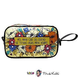 Necessaire Vivo Estampa Frida Kahlo Bege - Logo