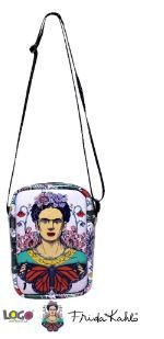 Bolsa Transversal Estampa Frida Kahlo Lilas - Logo