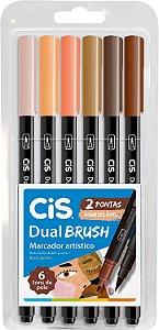 Estojo C/6 Marcador Dual Brush Tons Pele - Cis