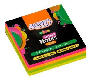Bloco Anotacao 76x76mm C/200 Cube Neon Color - Brw