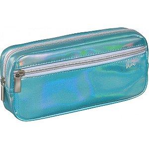 Estojo Simples C/bolso Shine Azul - Foroni