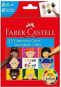 Canetinha C/6 + 6 Caras E Cores - Faber Castell