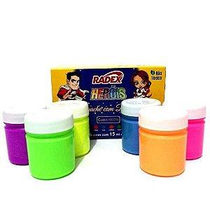 Tinta Guache 15ml 6 Cores C/brilho - Radex