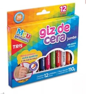 Giz Cera 12 Cores Triangular Jumbo - Tris