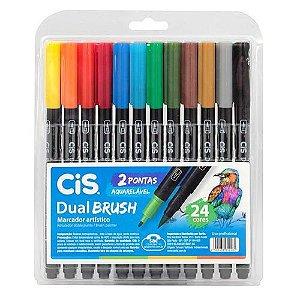 Caneta Pen Brush Cis Dual Brush 24 Cores