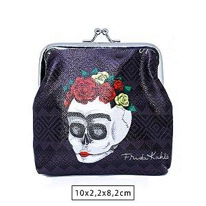Porta Moedas Frida Kahlo Flowers Preto