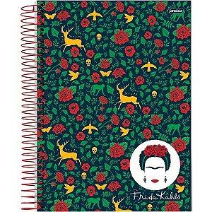 Caderno Espiral Capa Dura Universitário 10 Matérias 200 folhas Frida Kahlo
