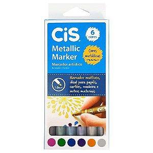 Marcador Artístico 6 Cores Metallic Marker Cis