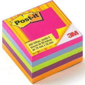 Bloco Adesivo Post-it® 76mm X 76mm, Cubo Tropical C/450 Fls - 3m