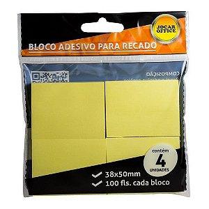 Bloco Adesivo para Recado Amarelo 38x50mm com 4 blocos Jocar Office