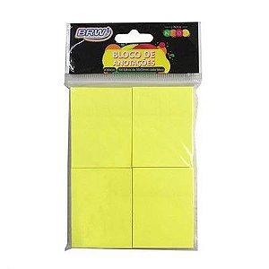 Bloco de Anotações BRW Amarelo Neon 38x51mm 4 Blocos com 100 Folhas