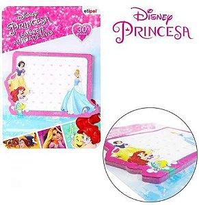 Bloco Autoadesivo Sticker Para Recado Retangular Com 30 Folhas Princesas 9,5X7Cm - Etipel