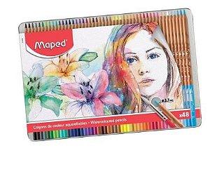 Lápis De Cor Aquarelável 48 Cores Estojo Metálico Maped