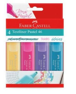 Marca Texto Pastel Textliner 46 C/4 Cores Faber Castell