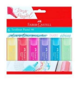 Marca Texto Textliner com 6 Cores Pasteis - Faber Castell