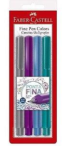 Caneta Hidrográfica 0.4mm C/4 Cores Fine Pen Faber Castell