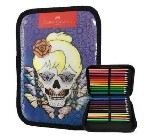Kit lápis de cor 24 cores + estojo box caveira feminino 3D Faber-Castell