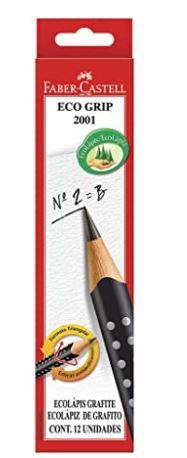 EcoLápis Grafite Grip 12 Unidades, Faber-Castell, Preto