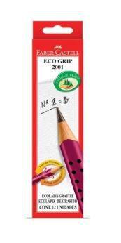 Lápis Grafite Eco Grip 2001 Faber-Castell Vermelho 12 Unidades