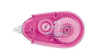 Fita Corretiva mini Faber-Castell 5mm X 6m corpo Rosa