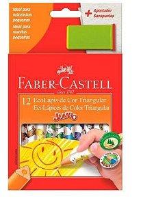 Lápis cor com 12 Jumbo Triangular C/Apontador  Faber Castell