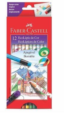 Lápis De Cor Faber-Castell Apagável 12 Cores Redondo