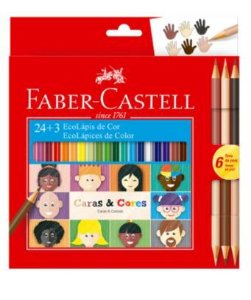 Lápis De Cor Faber-castell 24 Cores + 6 Tons De Pele Caras E Cores