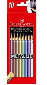 Lápis de Cor Sextavado, Faber-Castell, EcoLápis Metallic, 10 Cores