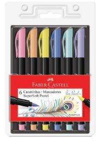 Caneta FABER CASTELL Supersoft Brush 6 Cores Pastel