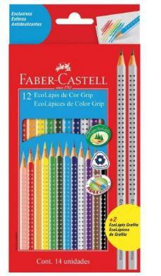 Lápis De Cor Faber Castell Grip + 2 Lápis Grafite 012 Cores