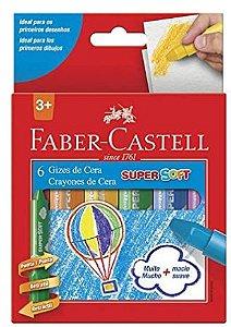 Giz de Cera Retrátil, Faber-Castell, Super Soft, 6 Cores