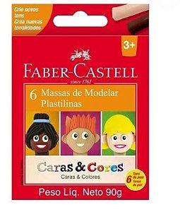 MASSA DE MODELAR CERA 6 CORES CARAS CORES FABER CASTELL