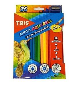 Lápis Cor Aquarelável 36 Cores + Apontador + Pincel Tris