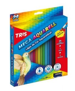 Lápis de Cor Triangular Aquarelável 24 Cores 1 Pincel Mega Aquarell Tris