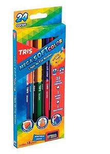 Lápis De Cor Bicolor Mega Soft Color 24 Cores – Tris