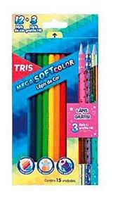 Kit Mega Soft 12 Cores +3 Lápis Pretos Collection Star – Tris