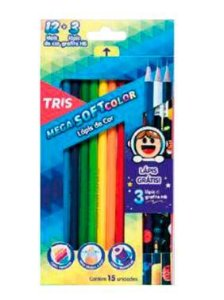 Kit Mega Soft 12 Cores +3 Lápis Pretos Collection Galaxy – Tris