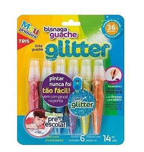 Tinta Guache Tris Bisnaga Glitter 6 Cores