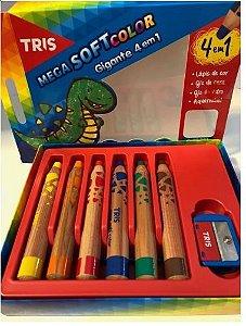 Lápis de Cor Gigante 4 em 1 Jumbo - Mega SoftColor Tris