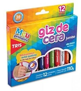 Giz Cera Jumbo, Tris,  Multicor, pacote de 12