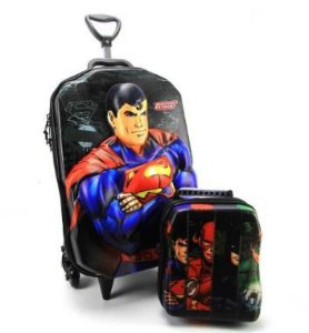 Mochila de Rodinha Superman 3D Com Lancheira Diplomata Maxtoy