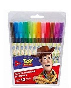 Caneta Hidrocor 12 Cores Toy Story Tris