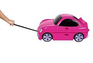 Mochila De Rodinhas Sestini Play Carro Rosa Barbie  Controle Remoto