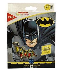 Caneta Hidrográfica 12 Cores Ponta Fina Batman Tris