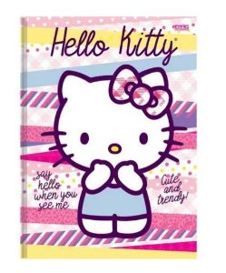Caderno Brochura Capa Dura Hello Kitty 96 Fls