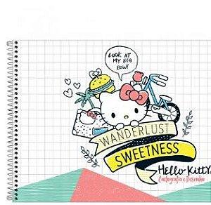 Caderno Espiral Capa Dura Cartografia e Desenho Hello Kitty 96 Folhas