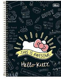 Caderno Espiral Capa Dura Universitário 10 Matérias Hello Kitty 200 Folhas