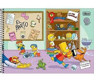 Caderno Cartografia e Desenho Capa Dura 80 FL Simpsons - Tilibra