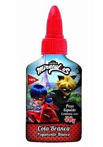 Cola Branca Escolar Miraculous Com Lacre Protetor 40g Tris
